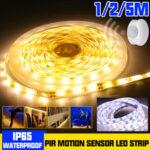 New              1M 2M 5M Waterproof LED Strip Light 2835 SMD PIR Motion Sensor Dimmable Closet Lamp for Cabinet Wardrobe DC12V