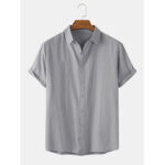 New              Mens Cotton Breathable Solid Color Short Sleeve Lapel Collar Shirts
