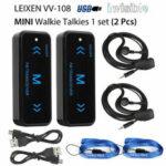 New              2Pcs V108 Mini Walkie Talkie Two-Way 400-470MHz FM Radio Ricetrasmittente + 2 Cuffie USB Carica