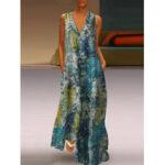New              Landscape Print Literary Retro V-neck Sleeveless Loose Maxi Dress with Side Pockets