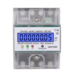 New              SINOTIMER DDS024T Din Rail 380V 80A 3 Phase 4 Wire Electronic Watt Power Energy Meter Wattmeter kWh LCD Backlight Display With Transparent Cover