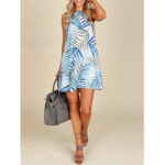 New              Women  Sleeveless Halter Leaves Printed Hawaii Summer Mini Dress