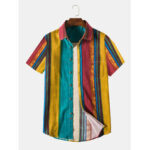 New              Mens Casual Cotton Linen Breathable Colorful Striped Shirts