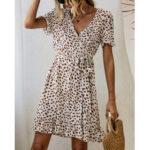 New              Bohemian Ruffle Wrap Animal Print Belted V-neck Short Sleeves Dress