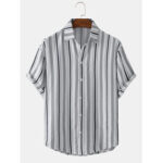 New              Mens Cotton Striped Button Up Casual Short Sleeve Shirts