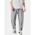 New              Cotton Mens Solid Color Pocket Elastic Waist Drawstring Casual Pants