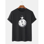 New              Cute Cartoon Space Astronaut Print 100% Cotton Short Sleeve T-Shirts