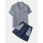 New              Banggood Designed Mens Casual Striped Pocket Breathable Shirts Elastic Waist Shorts