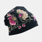 New              Women Cotton Embroidery Flower Printing Ethnic Style Beanie Hat Breathable Turban Cap