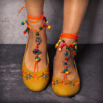 New              LOSTISY Exotic Style Embroidered Beaded Chain Yellow Casual Bohemia Flats