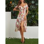 New              Slit Hem Random Floral Print Off Shoulder Casual Midi Dress