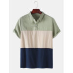 New              Breathable Cotton Color Block Short Sleeve Mens Henley Shirts