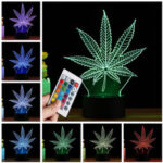 New              3D LED Maple Leaf Table Lamp Remote Control Touch Night Light Color Change Gift