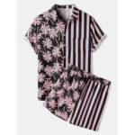 New              Banggood Design Coconut Tree Colorful Stripe Mixed Print Casual Holiday Shirts And Shorts Set