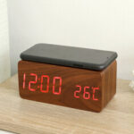 New              Wooden Digital Electronic Clock Alarm Clock With Wireless Charging Function