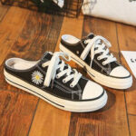 New              Women Daisy Decor Solid Color Lace Up Slip On Court Sneakers