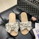 New              Women Weave Polka Dot Decor Slide Sandals