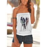 New              Casual Feather Print Strapless Sleeveless Cami For Women