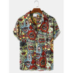 New              Mens Casual Clown Figure Cartoon Print Short Sleeve Shirts