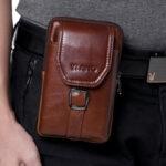 "New              Men Genuine Leather 6.5"" Phone Belt Bag Waist Bag"
