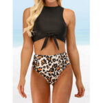 New              Women Leopard Print Tie Front High Neck Hot High Waist Bikini