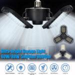 New              15/60/80W 96/300LED Deformable LED Garage Ultra-Bright Lights Garage Ceiling Light Adjustable E26/E27 LED Work Light Bulbs with 2/3 Leaves Die-cast Aluminum/Plastic Optional
