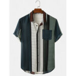 New              Mens Patchwork Srtiped Turn Down Collar Short Sleeve Shirts