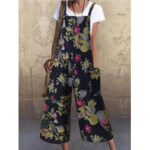New              Women Vintage Sleeveless Button Floral Side Pocket Overalls Loose Printing Jumpsuits