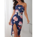 New              One Shoulder Random Floral Print High Slit Hem Bodycon Mini Dress