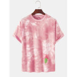 New              Tie-Dye 100% Cotton Breathable Cactus Pattern Casual Short Sleeve T-Shirts