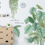 New              Green Leaves Wall Stickers for Bedroom Living Room Dining Room Kitchen Kids Room DIY Vinyl Wall Decals Door Murals