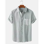 New              Mens Patchwork Striped Turn Down Collar Short Sleeve Shirts