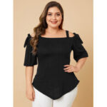 New              Plus Size Tie-up Design Cold Shoulder Half Sleeve Wild Casual Blouse