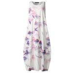 New              Floral Print Vintage Chinese Style Sleeveless Loose Casual Maxi Dress