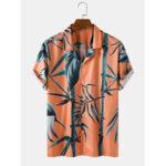 New              Banggood Designed Mens Bamboo Pint Tropical Short Sleeve Shirts