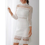 New              White Lace Hollow Out Design High Neck Long Sleeve Elegant Dress