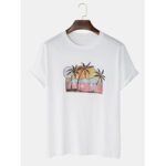 New              Cartoon hawaii Beach Landscape Short Sleeve Cotton Breathable T-Shirts