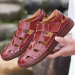 New              Men Genuine Leather Hand Stitching Hook&Loop Casual Sandals