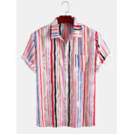 New              Mens Color Striped Print Light Casual Short Sleeve Shirts With Pocket