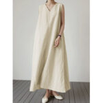 New              Women Summer Solid Color Vintage Casual Loose Sleeveless Maxi Dress