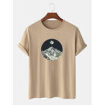 New              100% Cotton Design Mountain Landscape Casual Short Sleeve T-Shirts