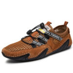 New              Men Suede Mesh Splicing Comfy Soft Sole Casual Driving Flats