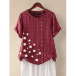 New              Daisy Print Floral O-neck Short Sleeve Button Plaid Casual T-shirts For Women
