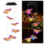 New              Color Changing LED Solar Light Outdoor Hummingbird Wind Chime Lamp Yard Garden Decor