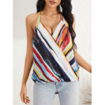 New              Tie Dye Stripe Halter V-neck Sleeveless Front Cross Daily Casual Tank Top
