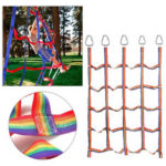 New              145x185cm Rainbow Nylon Climbing Cargo Net for Kids Outdoor Play Sets Sport Training