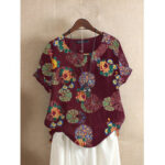 New              Floral Print O-neck Short Sleeved Summer T-shirts For Women