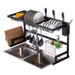 New              Sink Dish Drying Shelf Stainless Steel Cutlery Holder Drainer Rack Tool