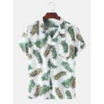 New              Mens Cotton Leaves Print Revere Collar Short Sleeve Shirts