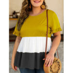 New              Plus Size Women Hit Color Patchwork Ruffle Sleeve Summer Causal Blouse